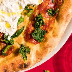 pizza leggera trofarello, burrata e friarelli