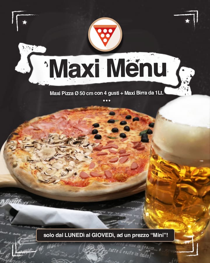 maxi menu pizza e birra